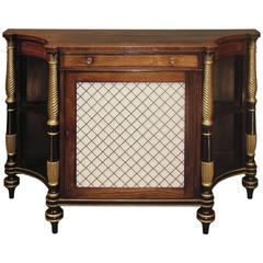 Regency Period Rosewood, Giltwood and Black Painted Chiffonier