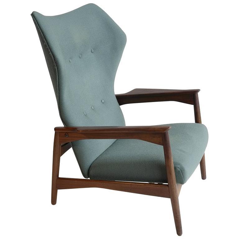 Ib Kofod Larsen by Carlo Garhn, Adjustable Danish Wingback Lounge Chair