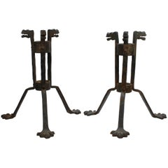 Pair of Gothic Revival Samuel Yellin Style Figural Wrought Iron Planter Stands