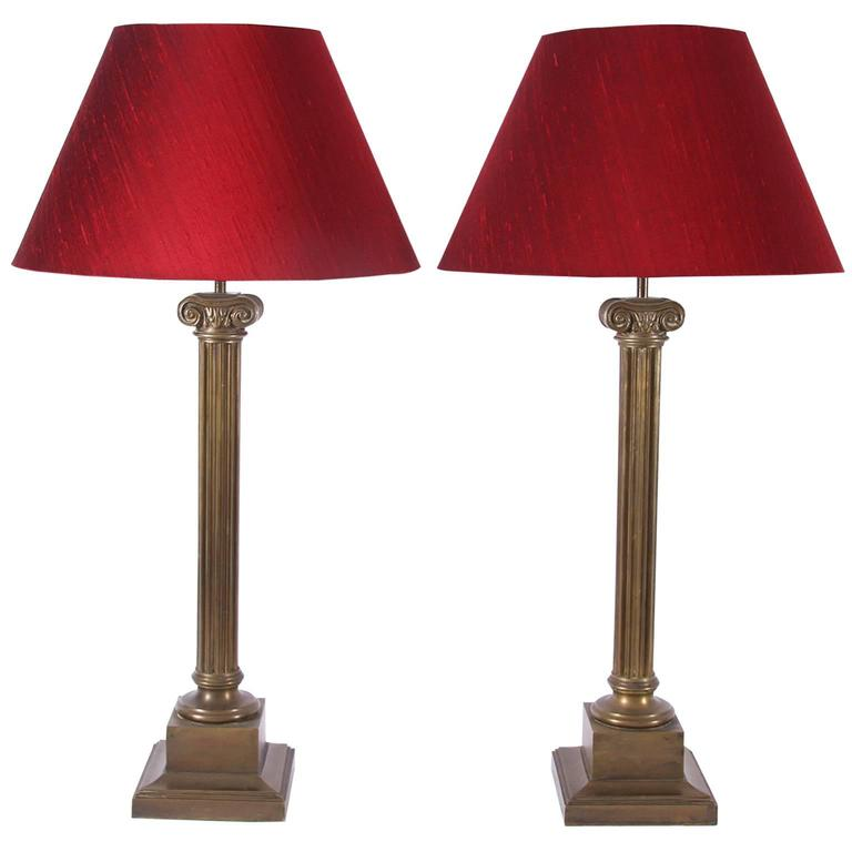 Pair of Column Table Lamps, French, Mid-20th Century