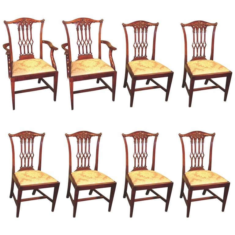 Set of Eight 19th Century Chippendale Style Mahogany Dining Chairs For Sale