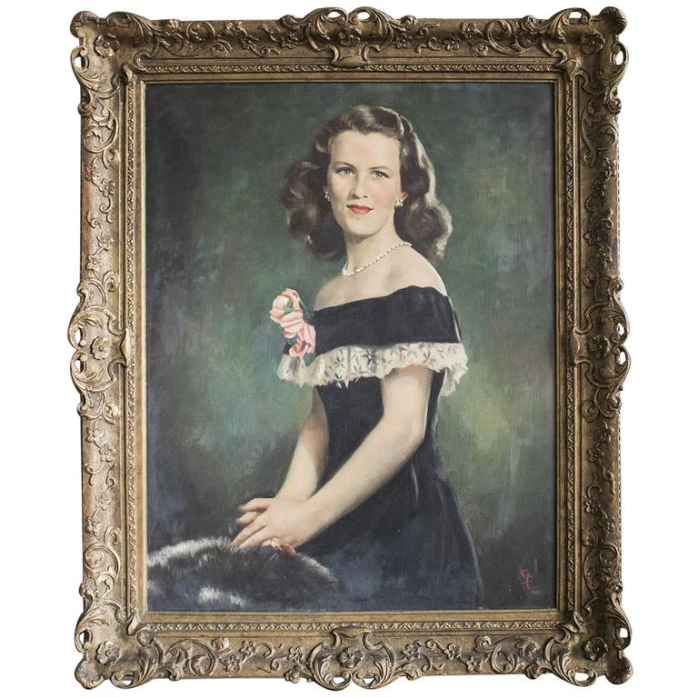 Mid-Century Portrait of a Lady Oil on Canvas