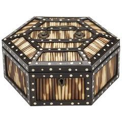 Antique Ceylonese Hexagonal Porcupine Quill Box, 19th Century