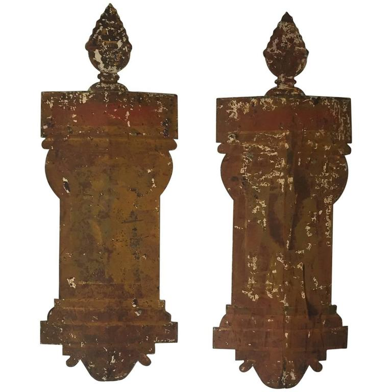 Pair of Iron 18th Century Italian Tole Appliques For Sale