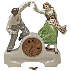 Meissen Mantle Table Clock Konrad Hentschel Art Nouveau Dancing Couple 1910