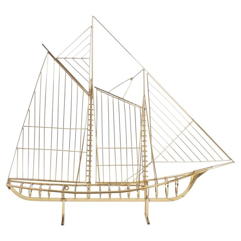 Jere Brass Plated Sailboat Model