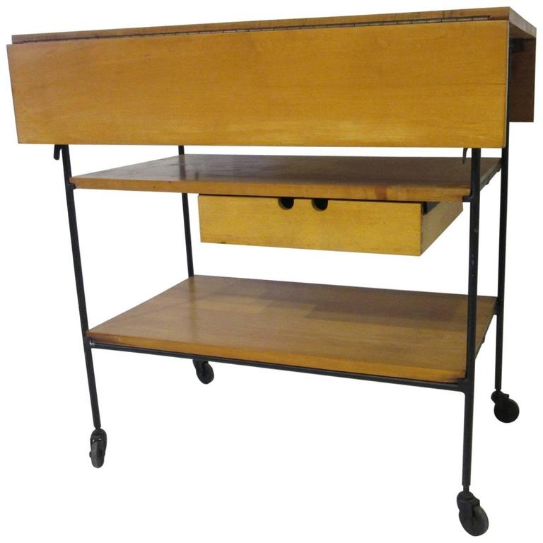 Paul McCobb Bar or Serving Cart with Folding Top For Sale