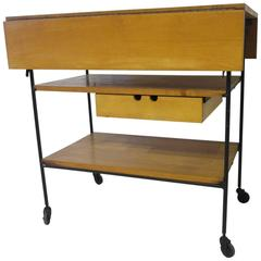 Paul McCobb Bar or Serving Cart with Folding Top
