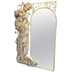 Monumental Art Nouveau Style Mirror, Life-size Woman by Cote of France