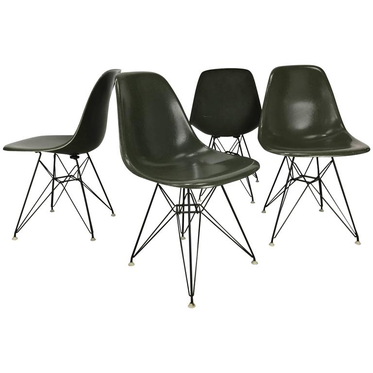 Early Eames Eiffel Chairs, U0027DSRu0027 Molded Fiberglass Wire Base Herman Miller 1