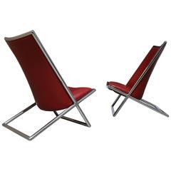 Pair of Scissor Chairs by Ward Bennett
