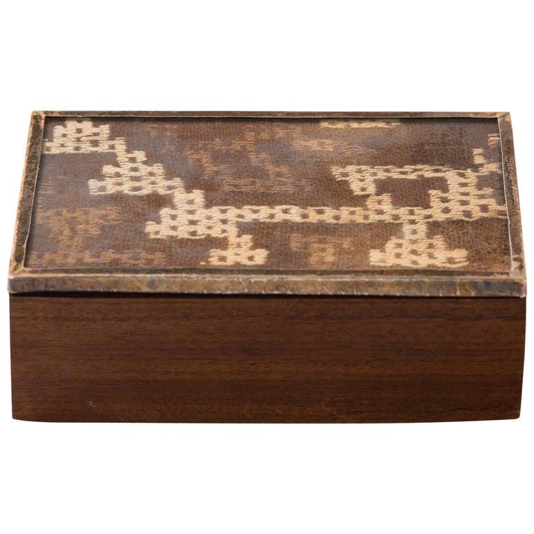 Peruvian Nazca Textile Exotic Wood Box For Sale