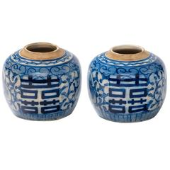 Pair of Chinese 19th Century Lotus Ginger Jars