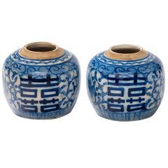 Pair of Chinese 19th Century Lotus Ginger Jars