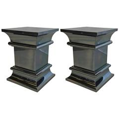 Pair of Gunmetal Chrome Column Form Side Tables