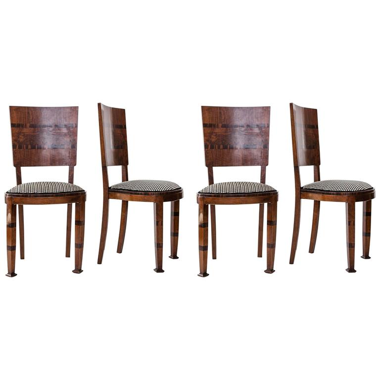 Italian Dining Chairs with Frame in Wood and Padded Seat in Pied de Poule Velvet