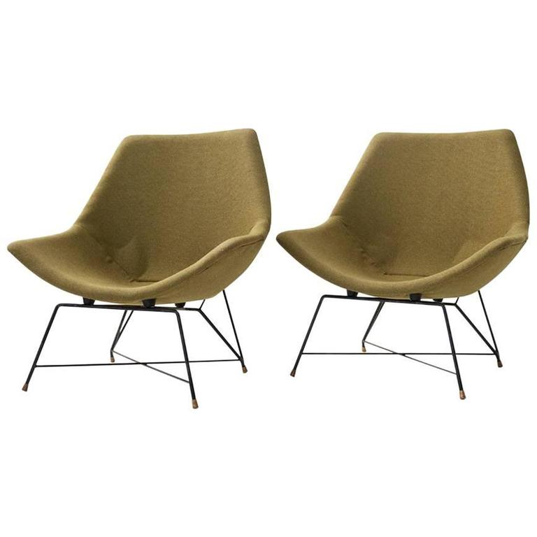 Augusto Bozzi Iconic Design Pair of Armchairs, Metal Structure 1