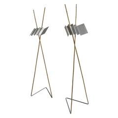 Rare Pair of Bamboo and Metal Floor Lamps by Anke Kamerman