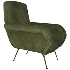 Italian Armchair Mid-Century Design  1950s Green Brass Feat