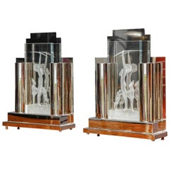 Pair of Art Deco Style Lamps by Tristan Zerbib, 1990s