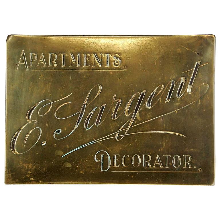 Early 20th Century Brass English Decorator Trade Sign