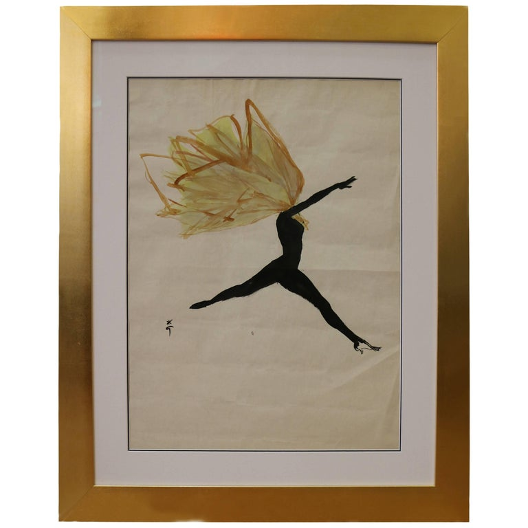 Spectacular Drawing of a Dancer by René Gruau, France, circa 1950 For Sale
