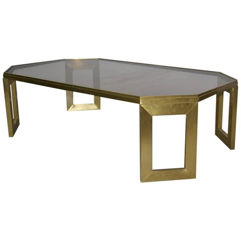 Coffee Table In Brushed Brass 1970s Italian Design At 1stdibs
