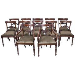 Set of 12 Regency Style Mahogany Bar Back Dining Chairs