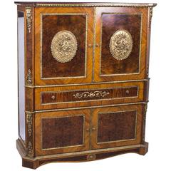 Superb Burr Walnut and Kingwood Cocktail Cabinet, Mid-20th Century