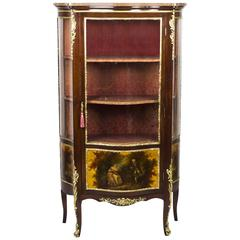 19th Century French Vernis Martin Mahogany Display Cabinet