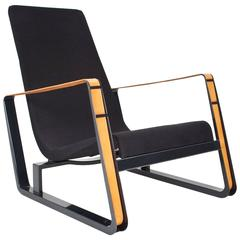1930, Beautiful Black Jean Prouvé Lounge Chair Model Cité for Vitra