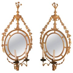 Antique Pair of Late 18th Century Giltwood Girandole Mirrors
