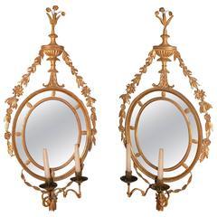 Antique Pair of Late 18th Century Giltwood Girandole Mirrors