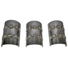 Delicious Sconces Curved Steel with Large Diamonds Crystal