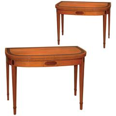Pair of Sheraton Period Satinwood and Purpleheart Card Tables
