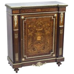19th Century French Burr Walnut Marquetry Side Cabinet