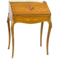 19th Century Satinwood and Marquetry Bureau De Dame