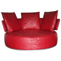 "B&B Italia ""Amoenus"" Round Circular Ottoman Sofa in Red ""Pelle"" Leather"