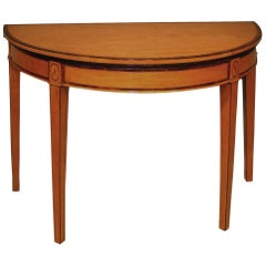 Antique Sheraton Period Half-Round Satinwood Card Table