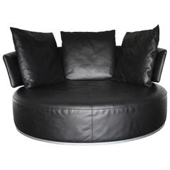 "B&B Italia ""Amoenus"" Round Circular Ottoman Sofa in Black ""Pelle"" Leather"