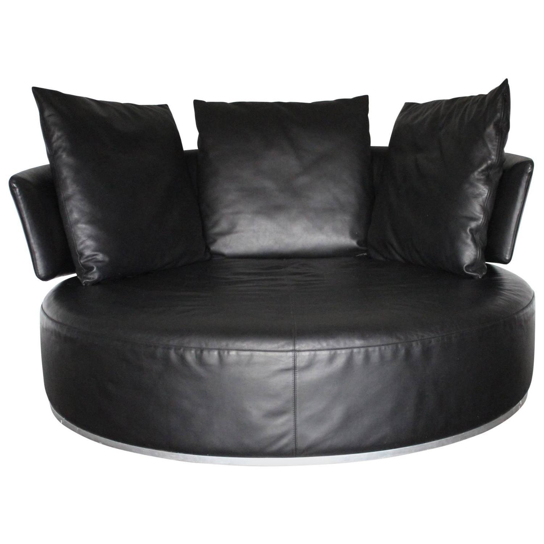 "B&B Italia ""Amoenus"" Round Circular Ottoman Sofa in Black ""Pelle"