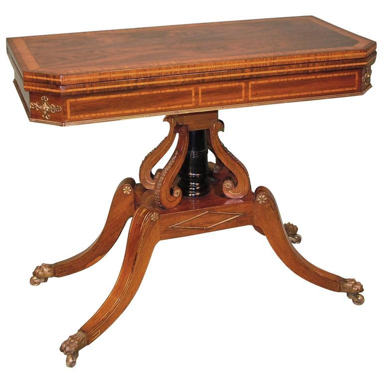 Regency Period Rosewood Card Table