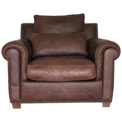 "Fendi Casa ""Club"" Armchair in Vintage Mid-Brown Leather"