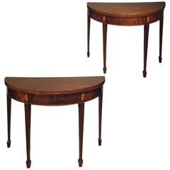 Pair of Sheraton Period Half-Round Figured Mahogany Tea Tables