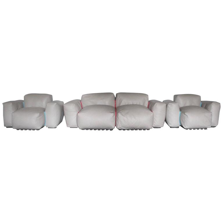 "Sofa with Two Armchair and Ottoman Suite of Cappellini ""Superoblong"""