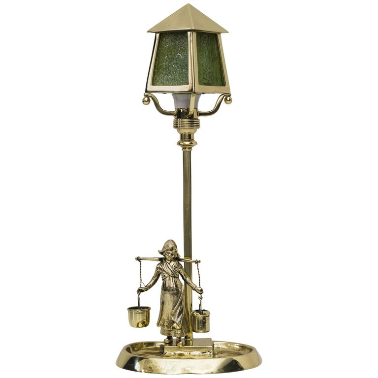 Jugendstil Table Lamp with Green Opaline Glass