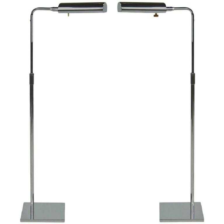 Pair of Articulating Chrome Floor Lamps by Koch and Lowy