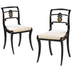 Pair of Ebonized and Gilt Regency Side Chairs