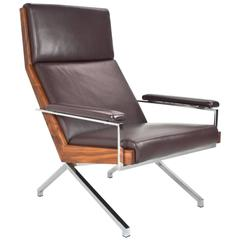 Brown Leather Lotus Easy Chair Dutch 1950s by Rob Parry Limited Production