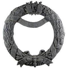 Early 20th Century Zinc Full Bodied Wreath Architectural College
